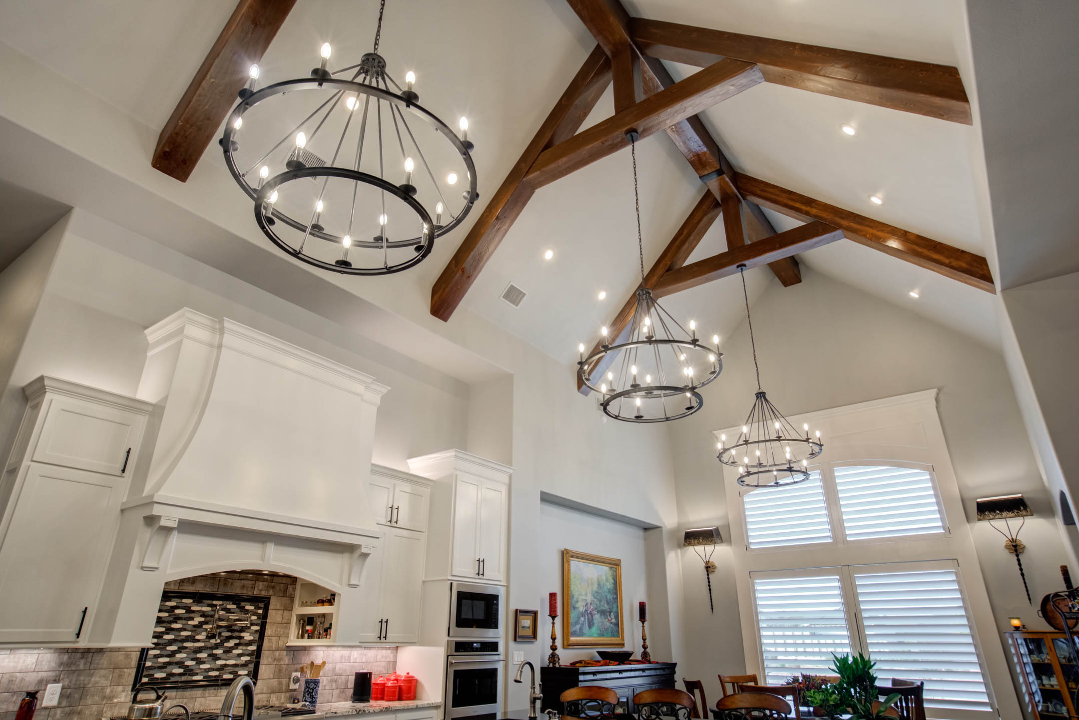 Amazing vaulted ceiling in kitchen of custom home in Lubbock, Texas.