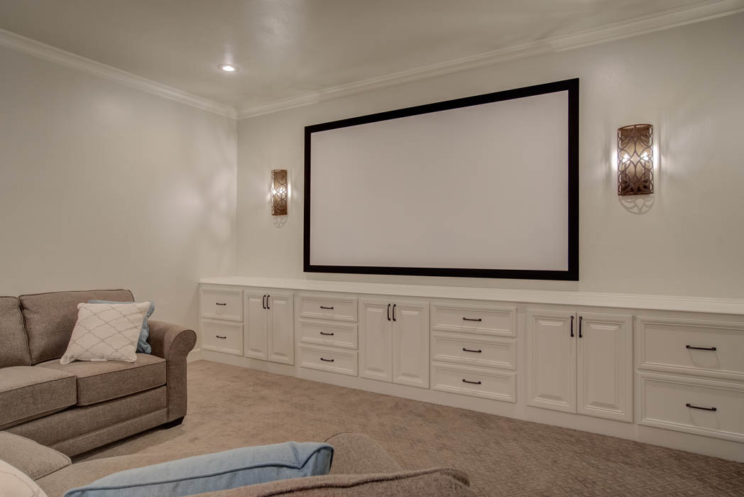 Amazing home theatre space in custom home by Sharkey Custom Homes in Lubbock.