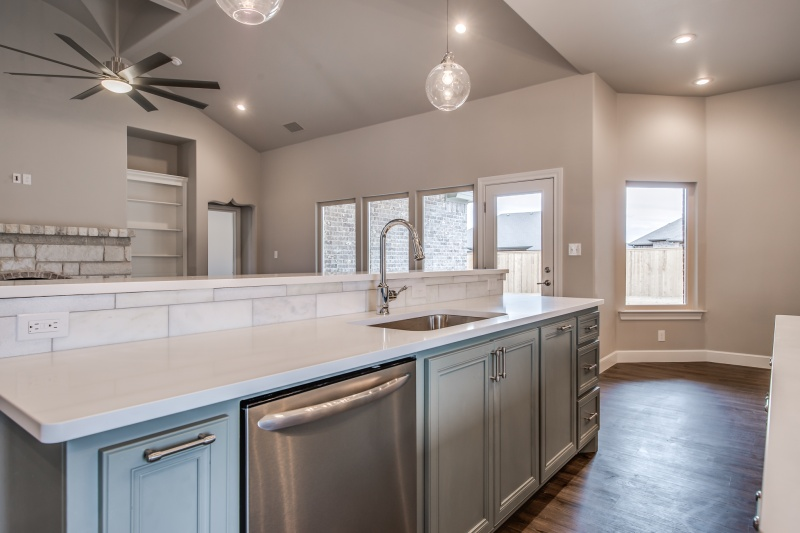 Sink area in custom home in Lubbock, Texas.