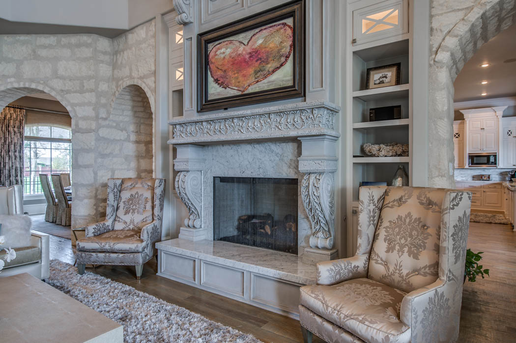 Amazing fireplace in living area of home in Lubbock, Texas.