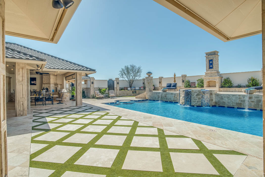 Great outdoor living space in West Texas home by Sharkey Custom Homes.