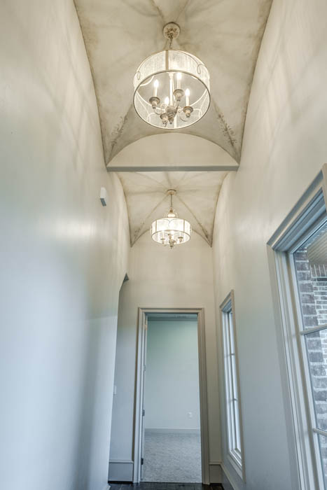 Detail of ceiling treatment in custom home in Lubbock, Texas.