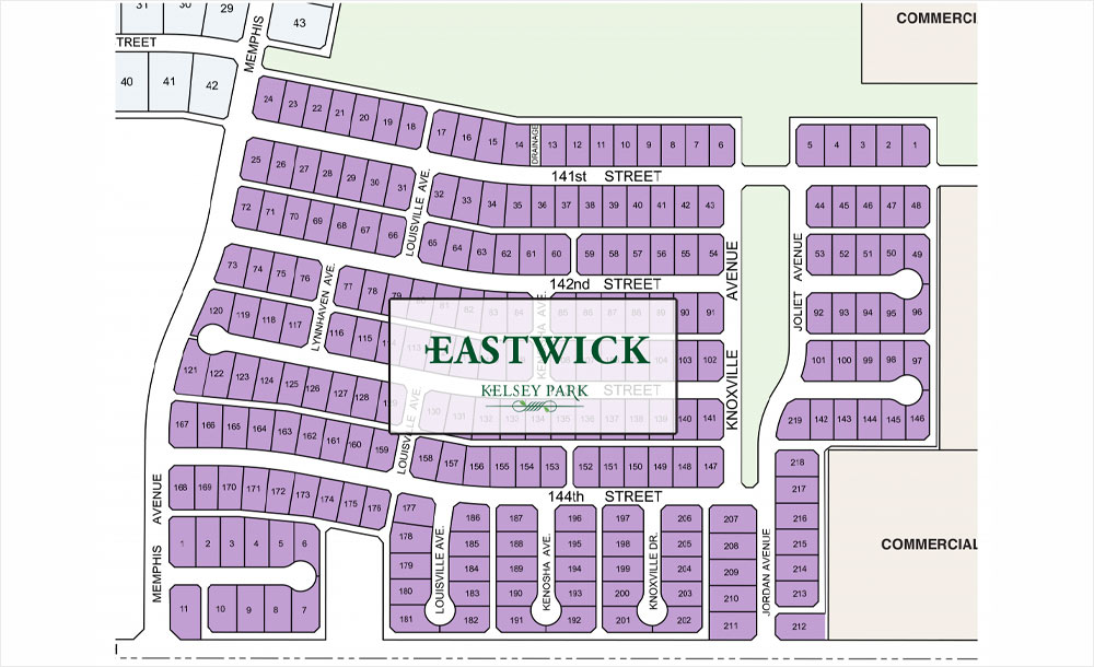 Lots map for the Eastwick at Kelsey Park neighborhood development in Lubbock, Texas.