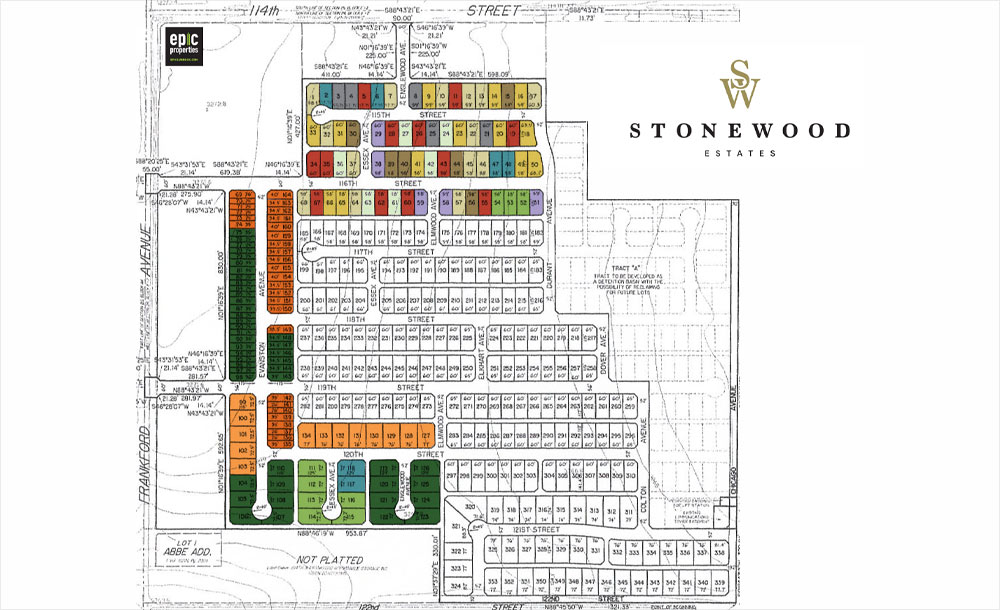 Lots map for the Stonewood neighborhood development in Lubbock, Texas.