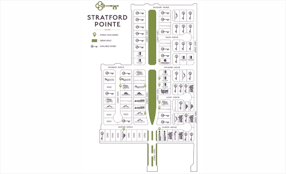 Lots map for the Stratford Pointe neighborhood development in Lubbock, Texas.