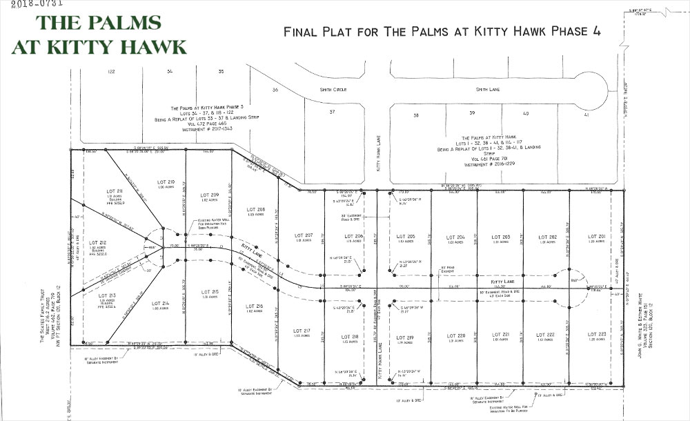 Lots map for the The Palms at Kitty Hawk neighborhood development in Lubbock, Texas.