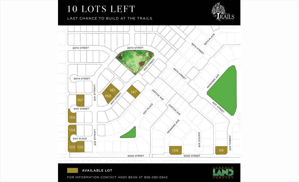Lots map for the The Trails at Regal Park neighborhood development in Lubbock, Texas.